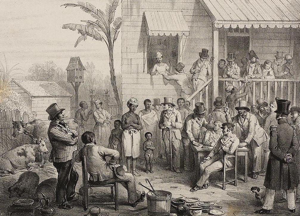 Openbare verkoping van een slavin en haar twee kinderen in Paramaribo. (Tekening door P.J. Benoît, Voyage à Surinam (1839), pl. 89, collectie Universiteit van Amsterdam).