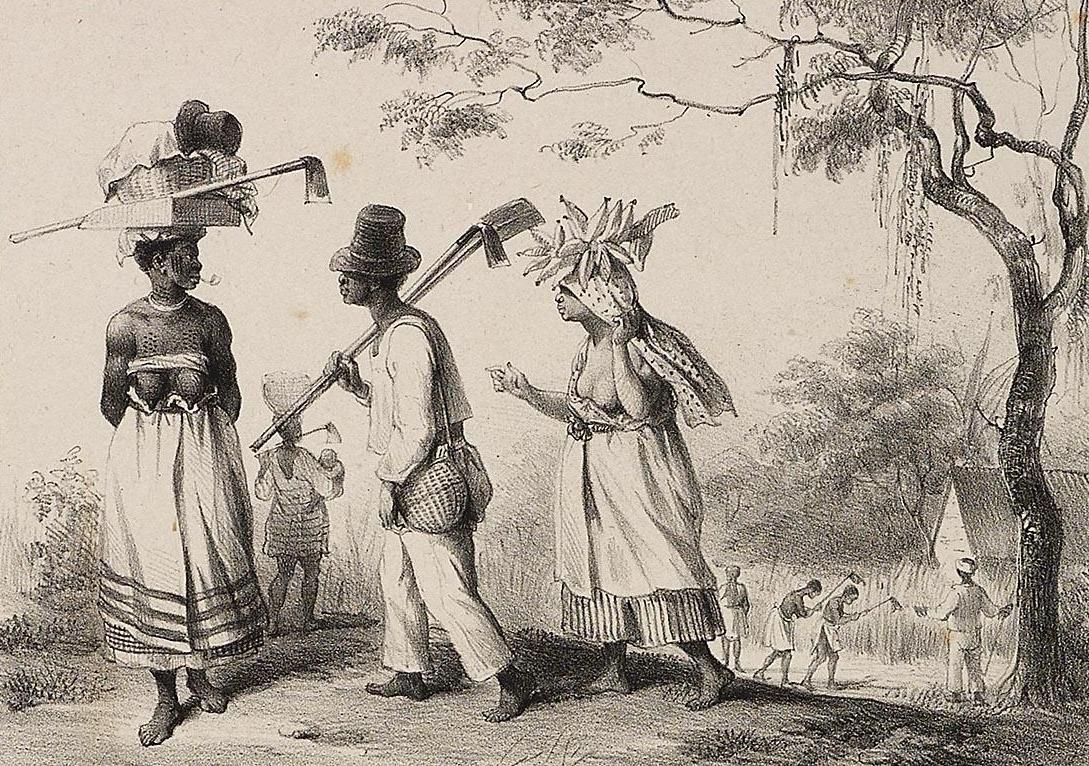 Slaven op weg naar het veld om te gaan werken. (Tekening door P.J. Benoît in Voyage à Surinam (1839), pl. 39. Collectie UvA)