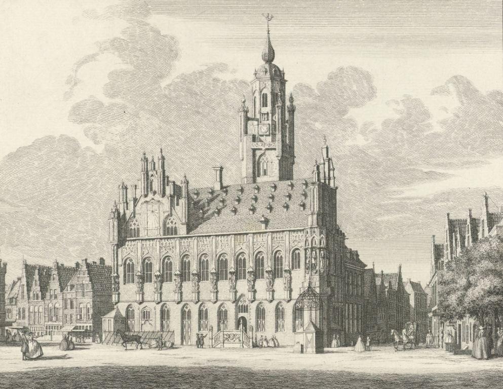 Stadhuis van Middelburg. Ets door Jan Caspar Philips naar een tekening van Cornelis Pronk, 1746. (Collectie Rijksmuseum)