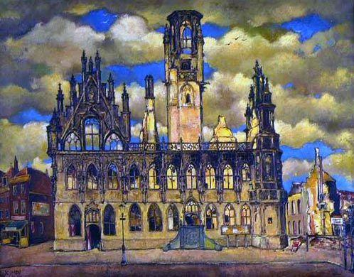 Schilderij door Reimond Kimpe van het stadhuis na het bombardement op 17 mei 1940. (Stadhuiscollectie Middelburg)