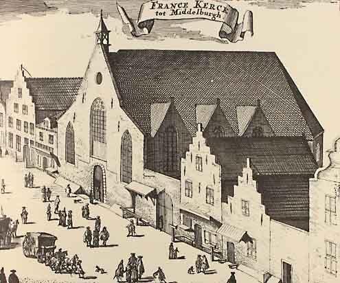 De Waalse kerk in Middelburg. Kopergravure uit de Nieuwe Cronijk van Zeeland door Mattheus Smallegange, 1696. De kerk stond in de Lange Sint-Pieterstraat en werd door Duitse beschietingen in mei 1940 verwoest.