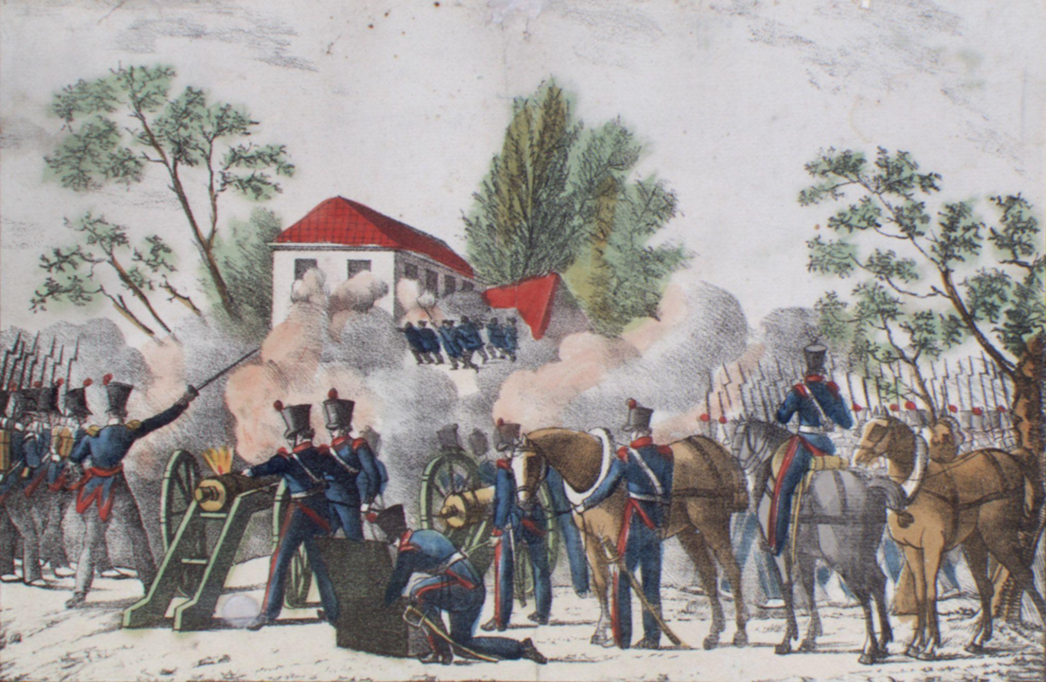 Nederlandse soldaten veroveren Kapitale Dam op de Belgische opstandelingen. Steendruk. (Zeeuws Archief, collectie KZGW, Zelandia Illustrata)