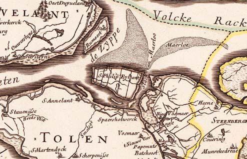 S. Philip Eylant op een kaart van Zeeland omstreeks 1673.