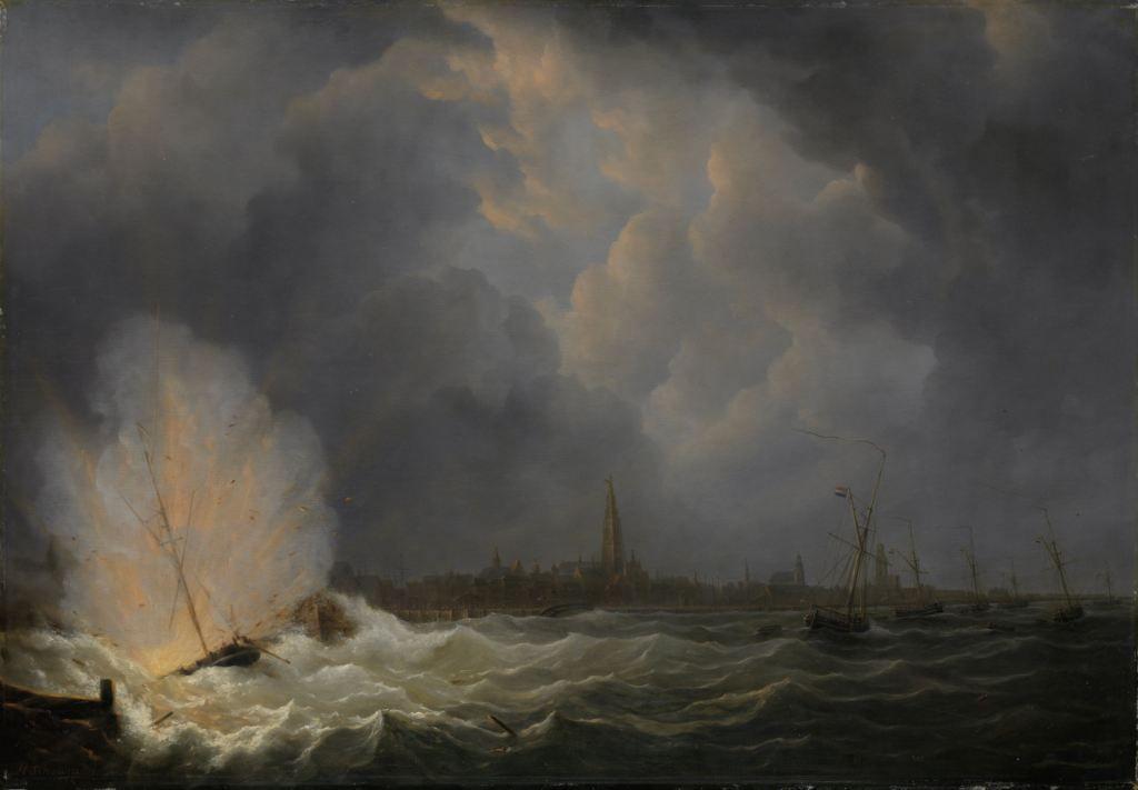 De ontploffing van de kanonneerboot van Van Speijk. Schilderij door Martinus Schouman, 1832. Collectie Rijksmuseum.