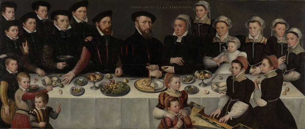 Het gezin van Pierre de Moucheron en echtgenote, ouders van Balthasar de Moucheron. Anoniem, 1563. Collectie Rijksmuseum.