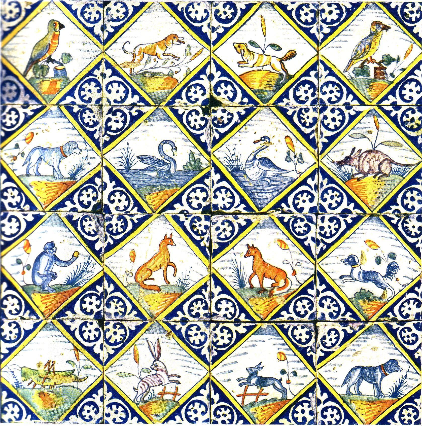 Tegeltableau met afbeeldingen van diverse soorten dieren, circa 1600.