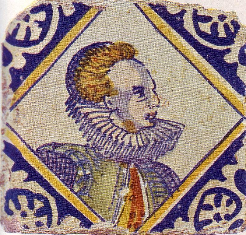 Kwadraattegel met afbeelding van een vrouw, circa 1600.