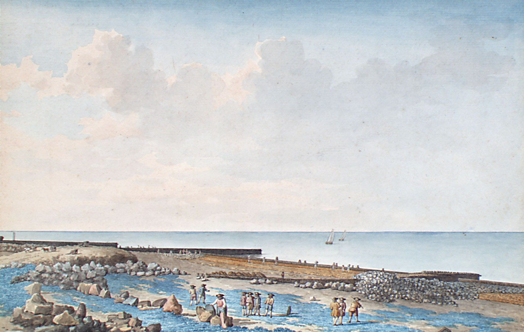 Gezicht op het midden van de dijk van Westkapelle met dijkwerkers. Tekening door Jan Arends, 1776. (Zeeuws Archief, coll. Zeeuws Genootschap, Zelandia Illustrata)