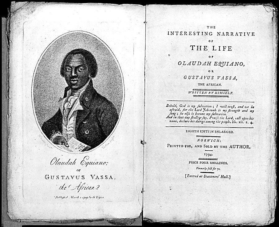 Titelpagina van het boek van Olaudah Equiano met zijn portret.
