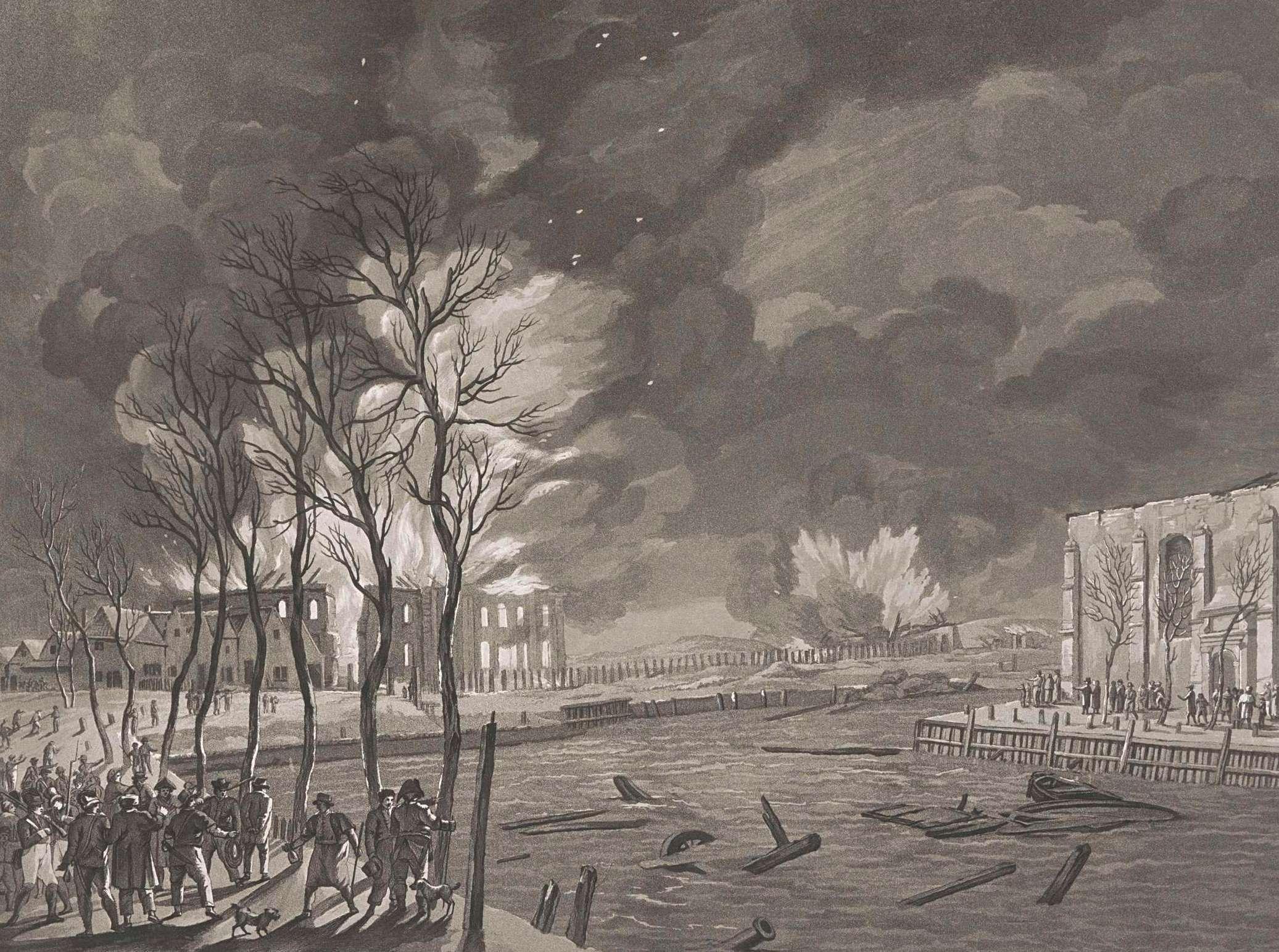 Afbranden van 's Lands Zeemagazijn na de aanval van de Engelsen, 1809. Prent door Friedrich Christoph Dietrich, 1809. (Collectie Rijksmuseum)