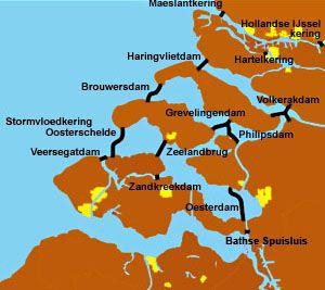 Waterstaatkundige werken in Zeeland. (kaart deltawerken.com)
