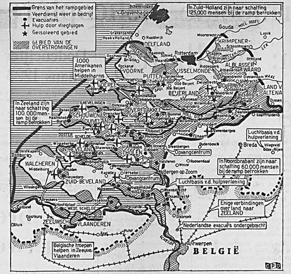 Kaart van het rampgebied. (Bron: zero-meridean.nl, © Het Vrije Volk, februari 1953)