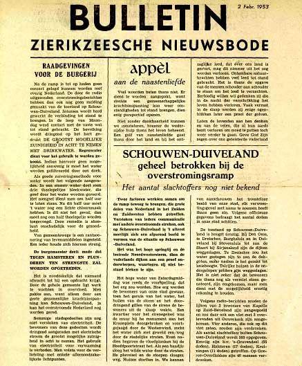 Voorpagina van de Zierikzeesche Nieuwsbode, 2 februari 1953. (Zeeuwse Bibliotheek, Krantenbank Zeeland)