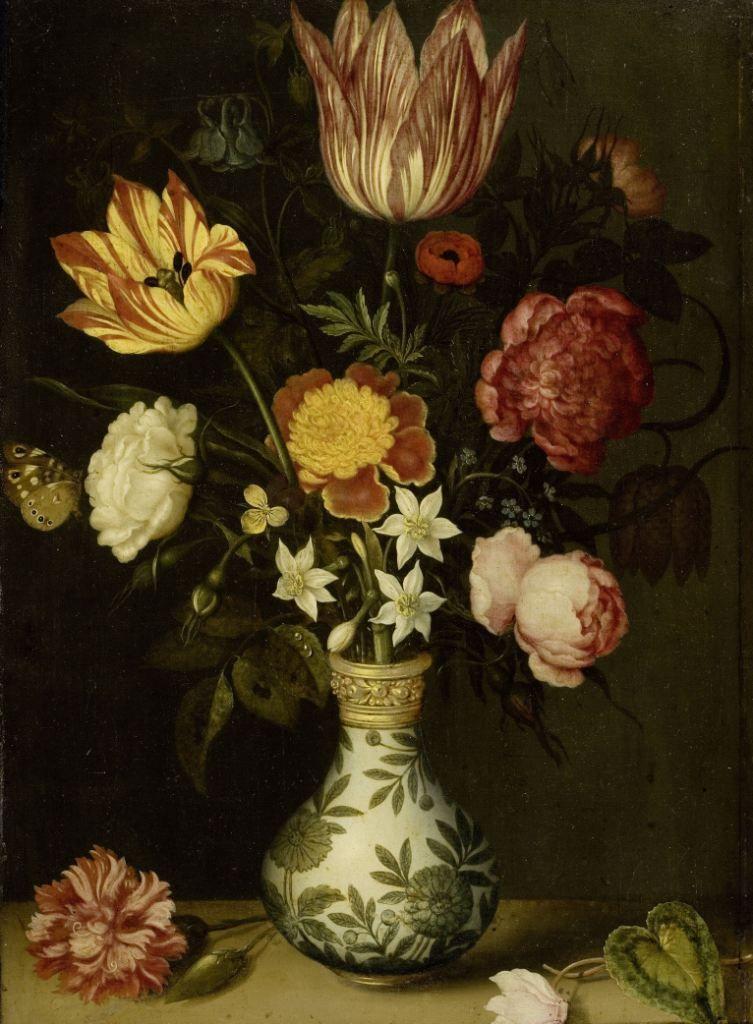 Stilleven met bloemen in een Wan-li vaas. Olieverfschilderij door Ambrosius Bosschaert, 1619. (Collectie Rijksmuseum)