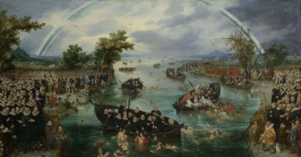 De Zielenvisserij. Olieverfschilderij door Adriaen Pietersz. van de Venne, 1614. Het schilderij verbeeldt hoe protestantse Noord-Nederlanders (links) en de katholieke zuiderlingen (rechts) naar gelovigen vissen. (Collectie Rijksmuseum)