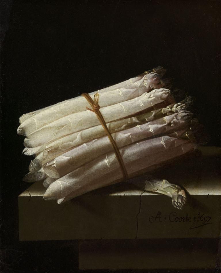 Stilleven met asperges. Olieverfschilderij door Adriaen Coorte, 1697. (Collectie Rijksmuseum)