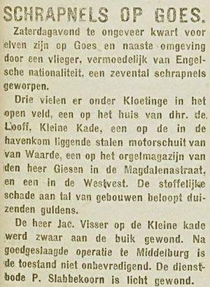 Artikel over het vergissingsbombardement op Goes in het christelijk-historisch dagblad De Zeeuw van 24 december 1917 (ZB, Krantenbank Zeeland).