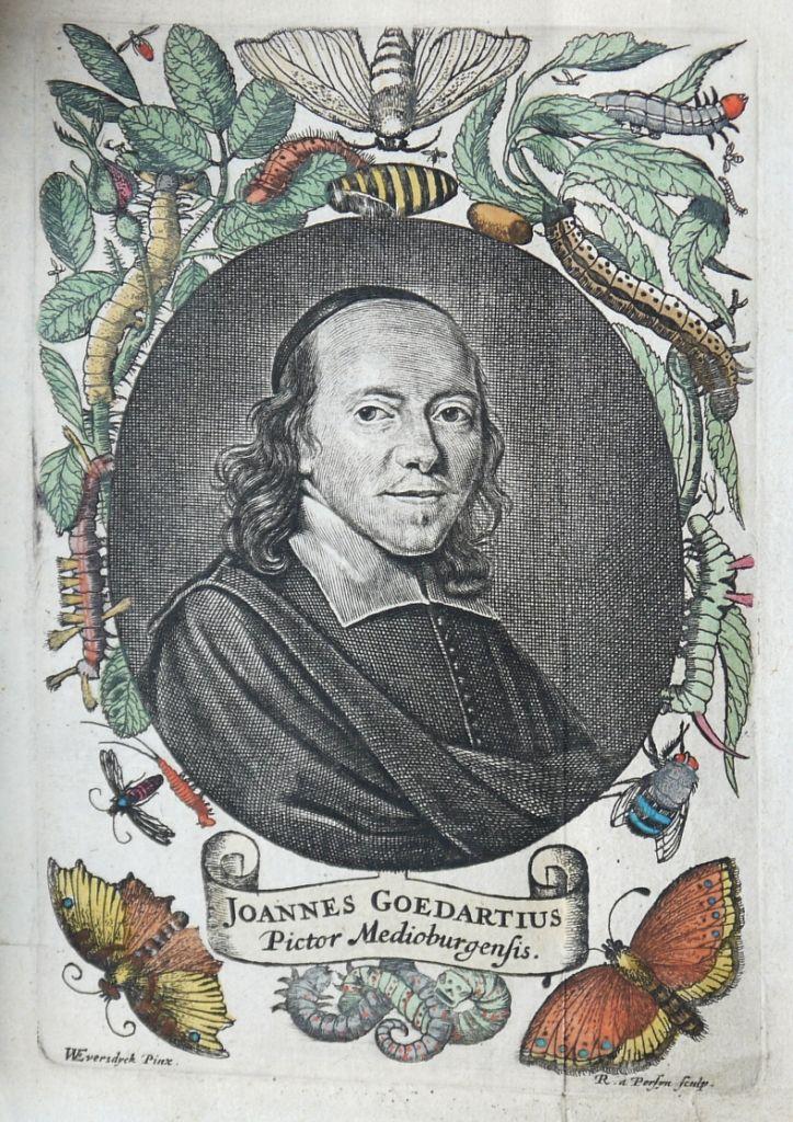 Portret van Johannes Goedaert, afgebeeld naast de titelpagina van de Franse vertaling van Metamorphosis Naturalis. (Goedaert Collectie, Krimpen a/d IJssel)