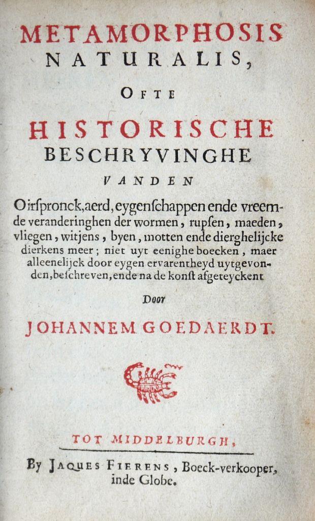 Titelpagina eerste druk Metamorphosis Naturalis. (Goedaert Collectie, Krimpen a/d IJssel)
