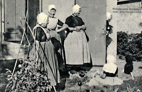Propagandakaart voor vrouwenkiesrecht, circa 1900. (Zeeuwse Bibliotheek, Beeldbank Zeeland)