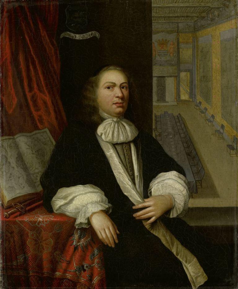 Portret van Justus de Huybert, secretaris van de Staten en Admiraliteit van Zeeland. Rechtsachter is de nieuwe Statenzaal te zien. (Rijksmuseum)