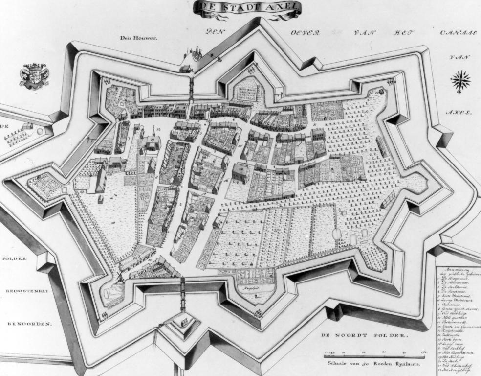 Plattegrond van Axel in 1739. (Gemeentearchief Terneuzen)