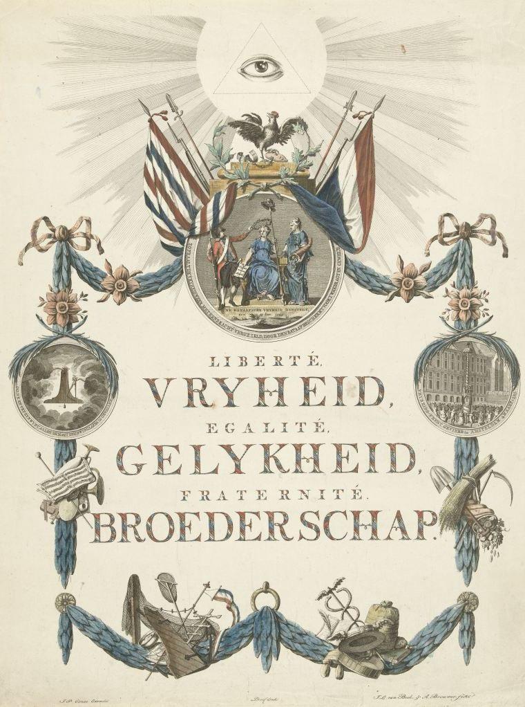 Gedenkplaat voor de stichting van de Bataafse Republiek op 19 januari 1795. Net als de optocht in Goes drie jaar later zijn op deze plaat allerlei symbolische verwijzingen te vinden. (Rijksmuseum)
