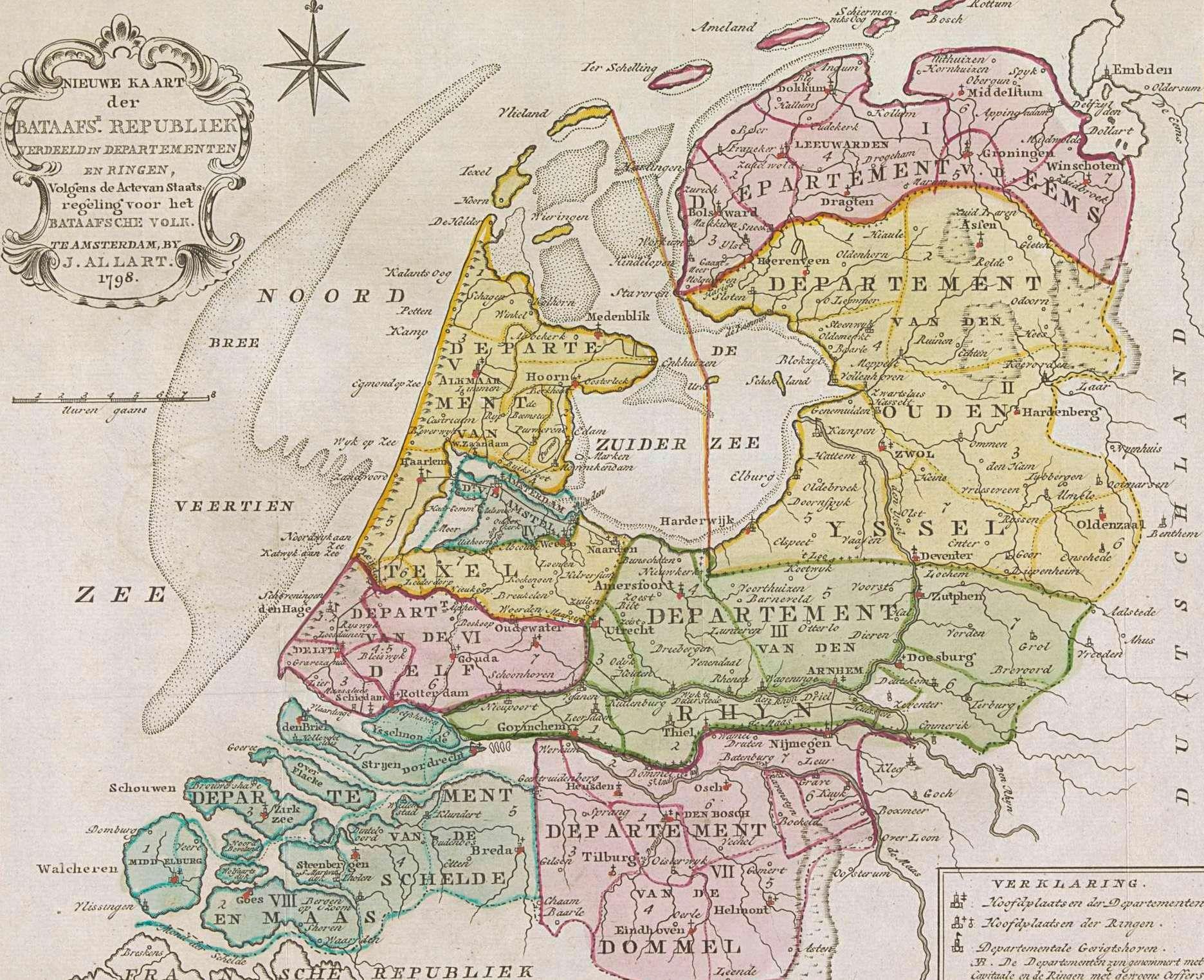 Kaart van de Bataafse Republiek in 1798. Te zien is dat het latere Zeeuws-Vlaanderen al deel uitmaakt van Frankrijk. (Rijksmuseum)