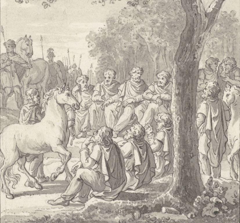 Het Bataafse volk was een bron van inspiratie voor de revolutionairen. Op deze fantasieprent van de Hollandse tekenaar E.M. Engelberts een raadsvergadering van de Batavieren. Tekening, 1784-1786. (Rijksmuseum)