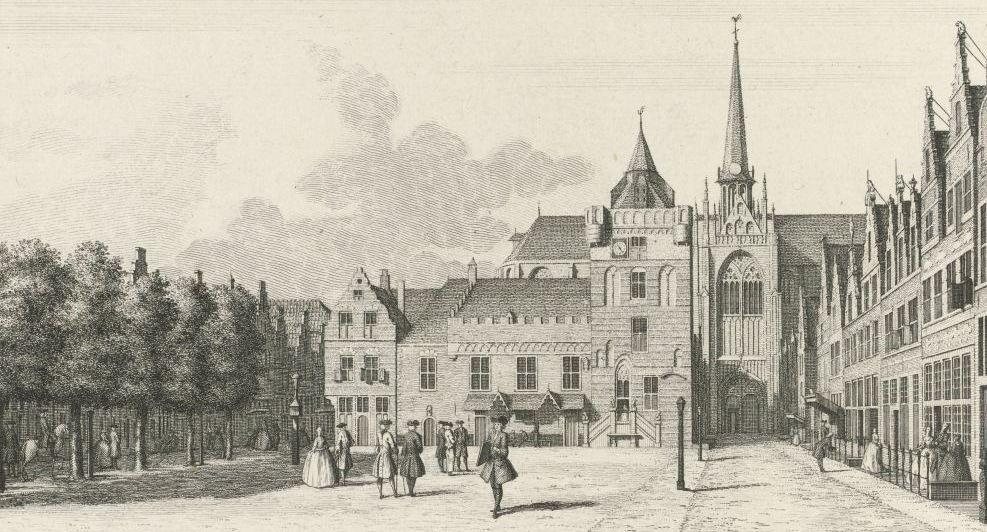 De Grote Markt in Goes. Hier vond een deel van de festiviteiten plaats. Ets door Jan Caspar Philips naar een tekening van Cornelis Pronk, 1745. (Rijksmuseum)