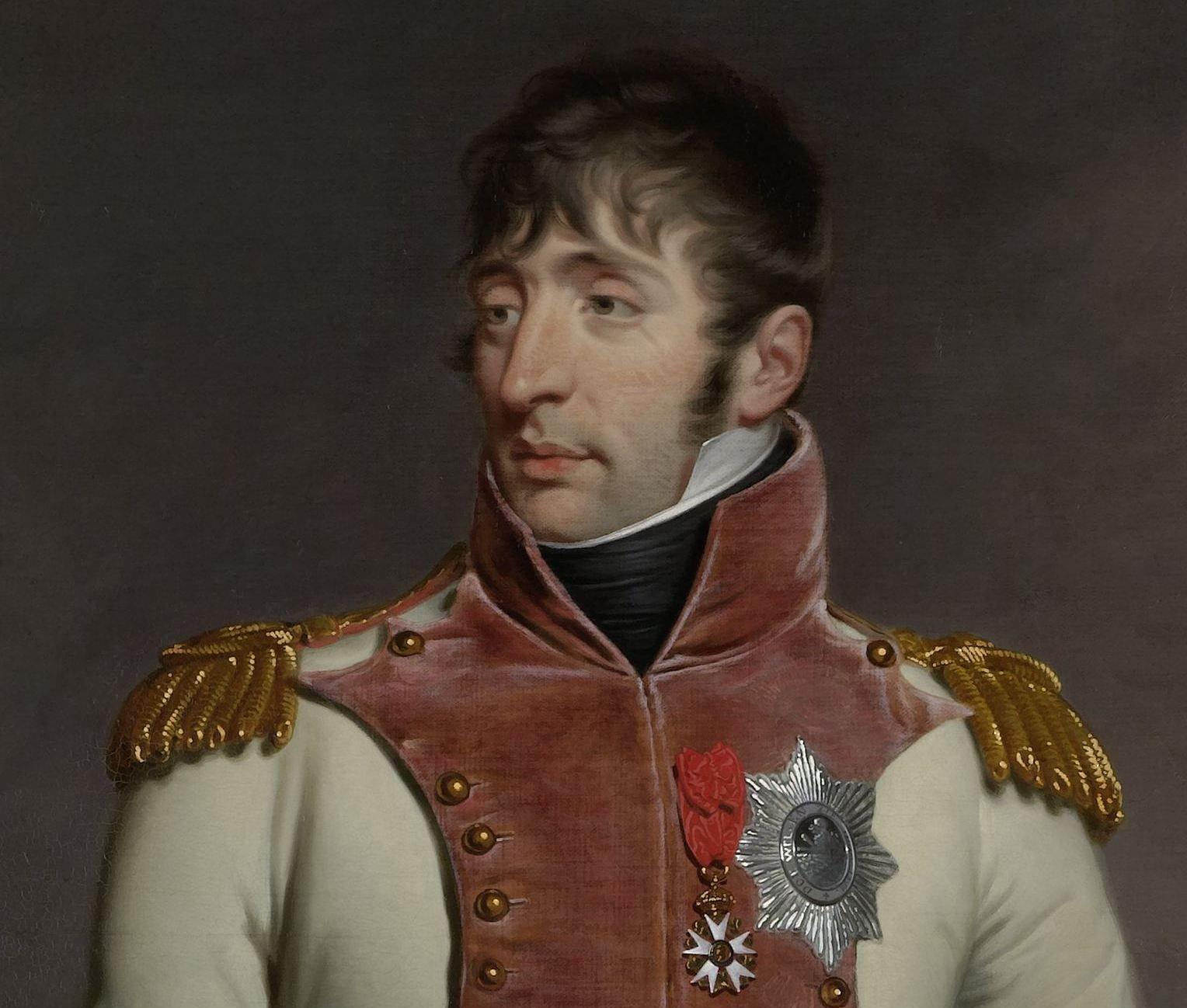 Portret van koning Lodewijk Napoleon. Detail schilderij door Charles Howard Hodges, 1809. (Collectie Rijksmuseum)