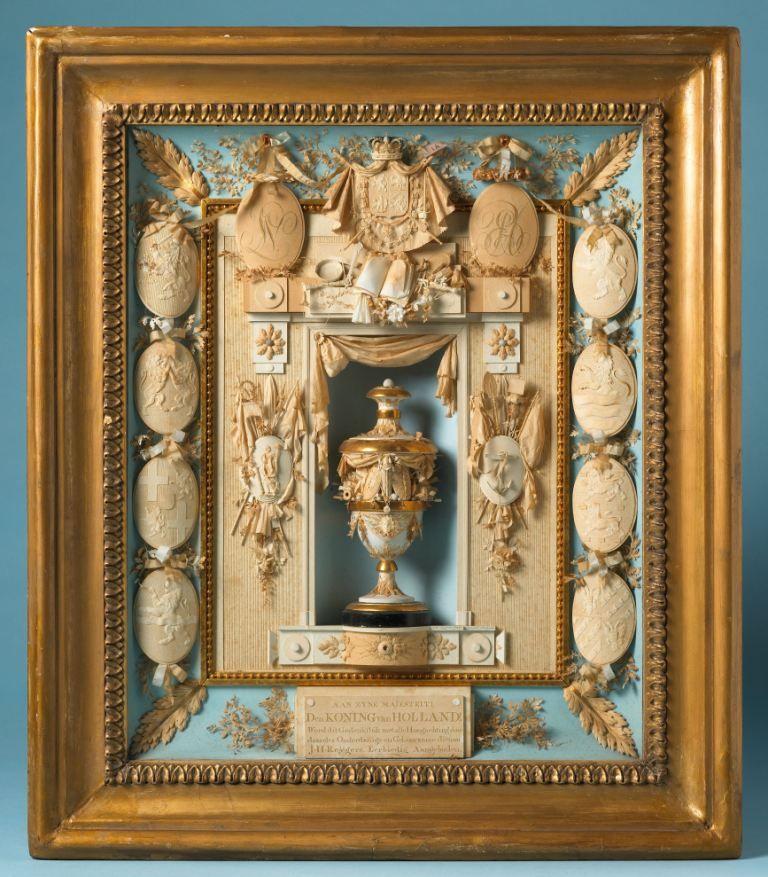 Gedenkstuk opgedragen aan Lodewijk Napoleon en gemaakt door de Middelburgse tekenleraar Johannes Hubertus Reijgers. Papierknipwerk, 1806. (Collectie Rijksmuseum)