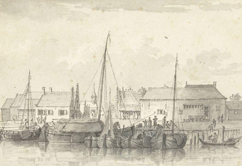 Gezicht op de haven van Bruinisse. Tekening door Cornelis Pronk, 18de eeuw. (Collectie Rijksmuseum)