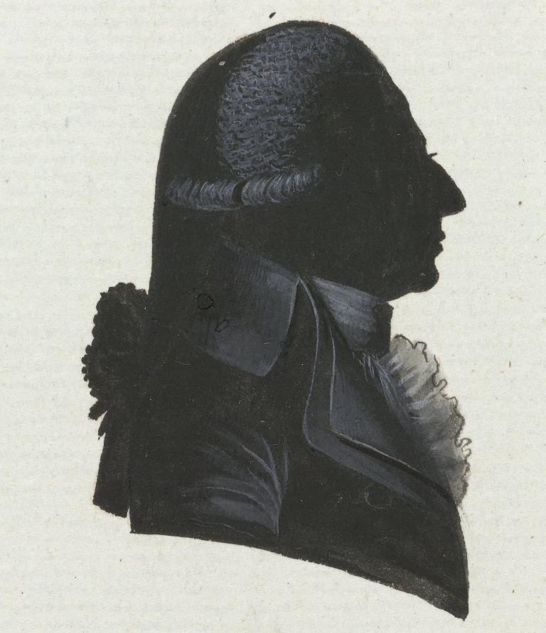 Silhouetportret van Willem Aarnout de Beveren, president provisionele representanten van het Volk van Zeeland, het Bataafse provinciebestuur. (Collectie Rijksmuseum)