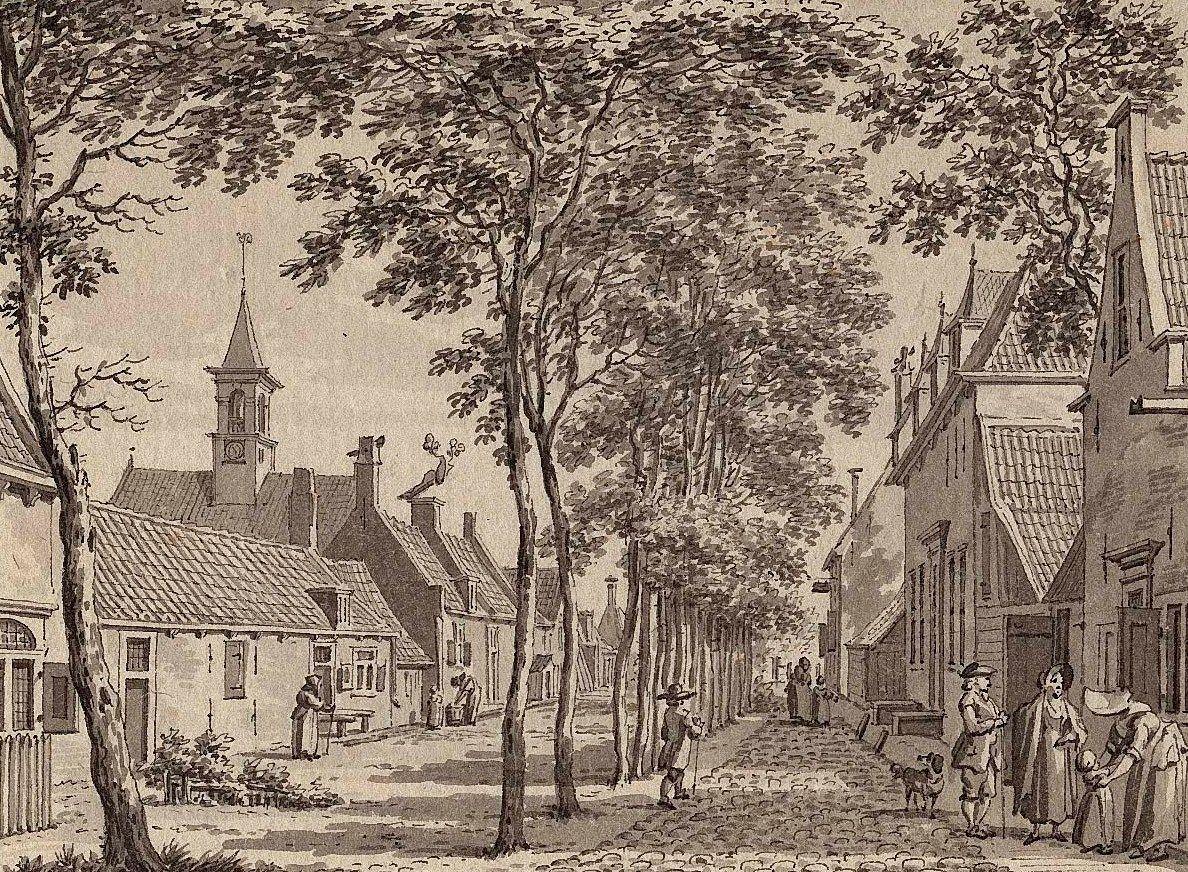 De dorpsstraat in Sint-Laurens, 1792. (Zeeuws Archief, collectie Zeeuws Genootschap, Zelandia Illustrata)