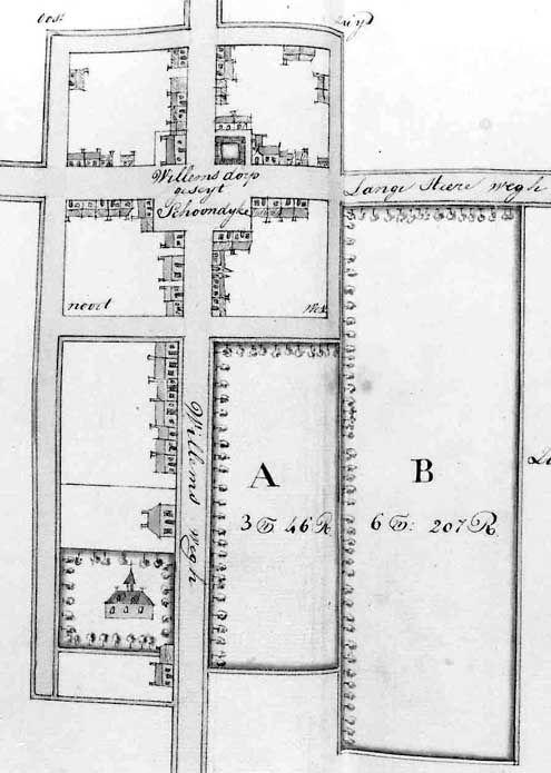 Kaart van Schoondijke in de 18de eeuw (Archief Vrije van Sluis)