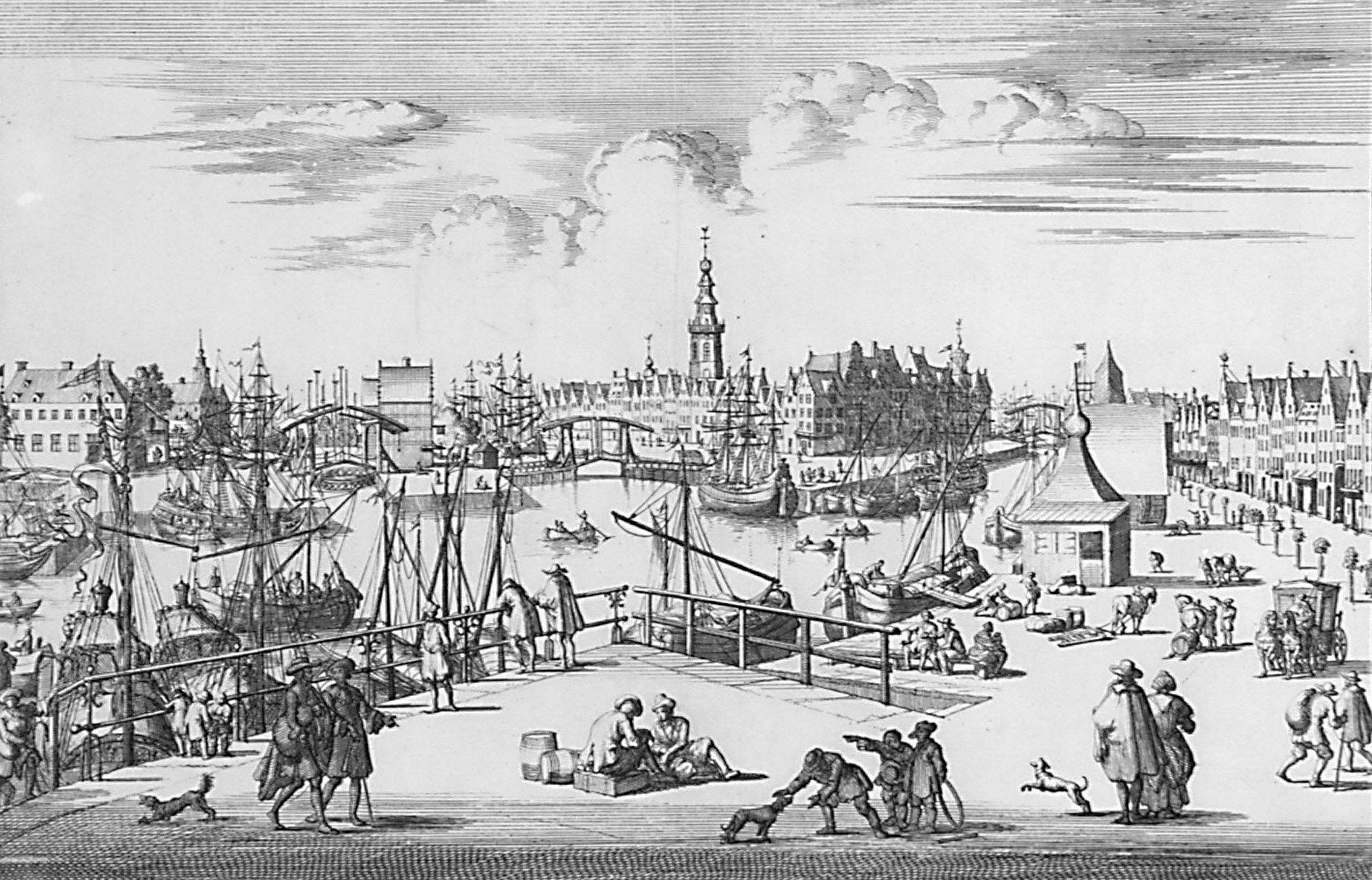 Gezicht van de binnenhaven van Middelburg, vanaf de Oostpunt. Kopergravure, circa 1690. (Zeeuws Archief, collectie Zeeuws Genootschap, Zelandia Illustrata)