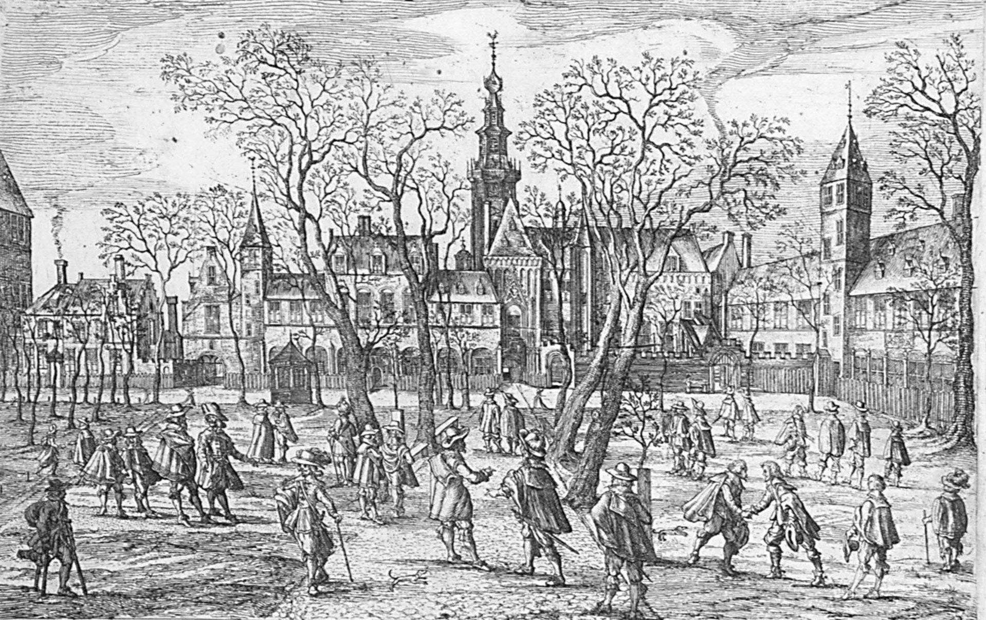 De 'Hof van Zeeland', de Abdij in Middelburg, waar onder andere de Staten vergaderden. (Zeeuws Archief, collectie Zeeuws Genootschap, Zelandia Illustrata)