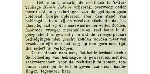 Krantenartikel over het vonnis in de rechtszaak tegen Lokerse. Uit de Goessche Courant van 25 december 1902. (Zeeuwse Bibliotheek, Krantenbank Zeeland)
