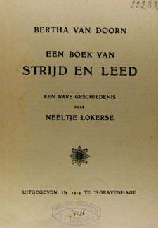 Titelpagina van het boek Bertha van Doorn, geschreven door Neeltje Lokerse ('s-Gravenhage 1914).