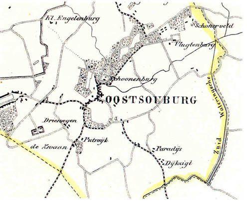 Op deze kaart van Oost-Souburg uit 1866 is het ronde terrein van de ringwalburg goed zichtbaar. (Zeeuws Archief, collectie Zeeuws Genootschap, Zelandia Illustrata)