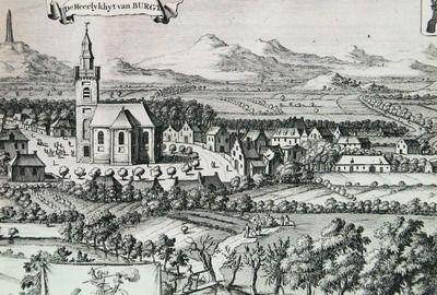 Burgh, afgebeeld in de Cronyk van Zeeland door M. Smallegange, 1696. (ZB, Beeldbank Zeeland)