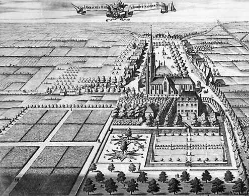 Nisse in vogelvlucht zoals afgebeeld in de Cronyk van Zeeland door M. Smallegange uit 1696 (Zeeuws Archief, coll. Zeeuws Genootschap, Zelandia Illustrata)