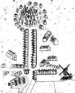 Schets van Sint-Annaland in de 18de eeuw. Met van boven naar beneden: Ring, Voorstraat, kruispunt met dijk om polder, en linksonder de haven. (Zeeuws Archief, Archief Ambachtsheerlijkheid Sint-Annaland)