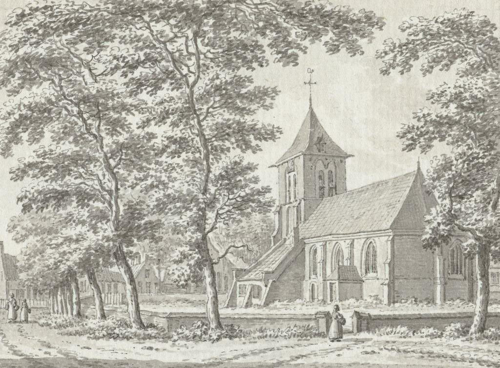 Kerk en ring van Biggekerke. Tekening door Jan Bulthuis, 1791. (Collectie Rijksmuseum)