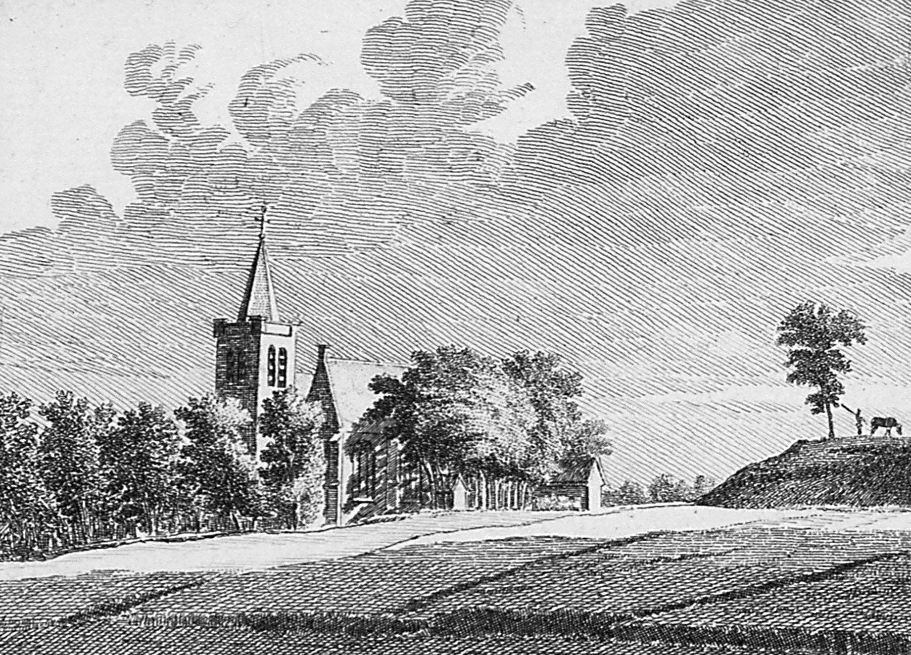 Gezicht op de kerk van Wemeldinge in 1743, met rechts de vliedberg. (Zeeuws Archief, coll. Zeeuws Genootschap, Zelandia Illustrata)