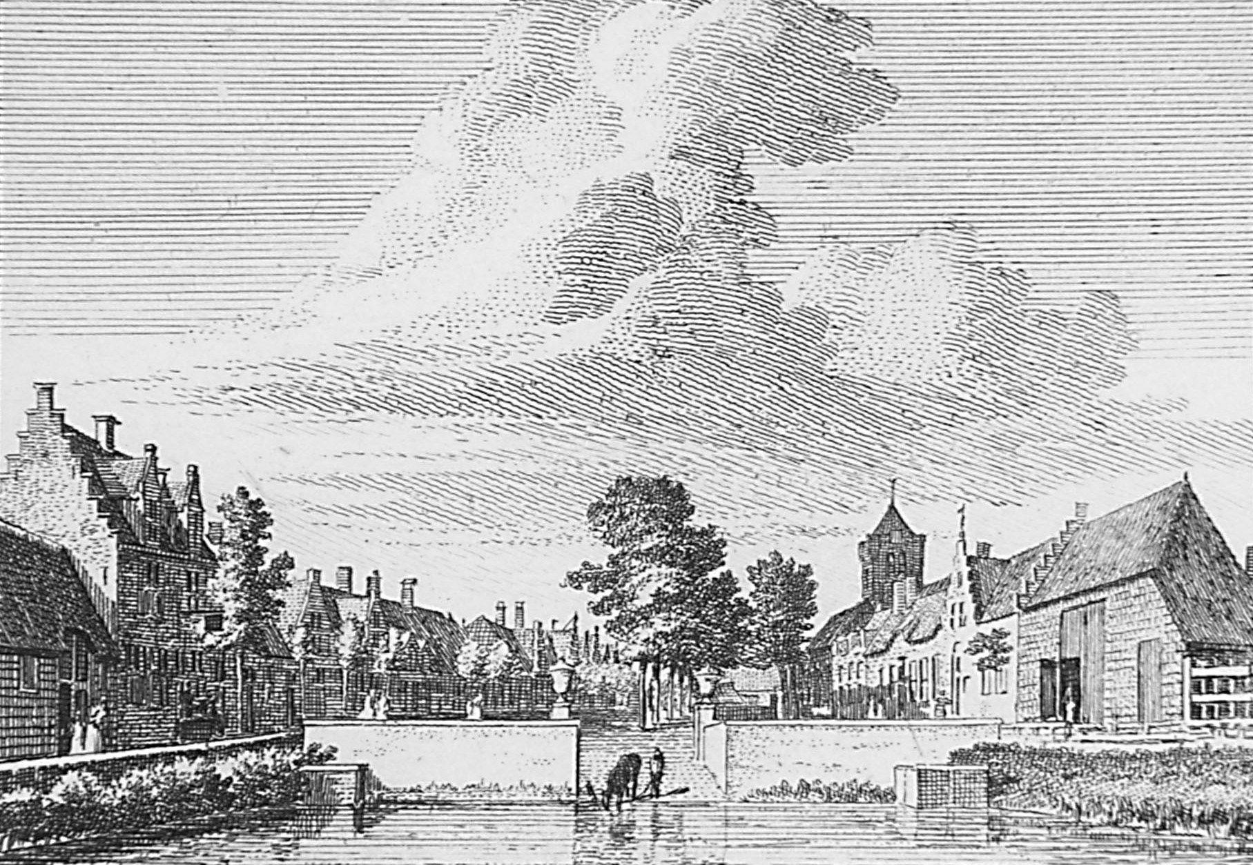 Gezicht op Baarland vanuit het oosten, met op de voorgrond de vaete, 1745. (Zeeuws Archief, coll. Zeeuws Genootschap, Zelandia Illustrata)