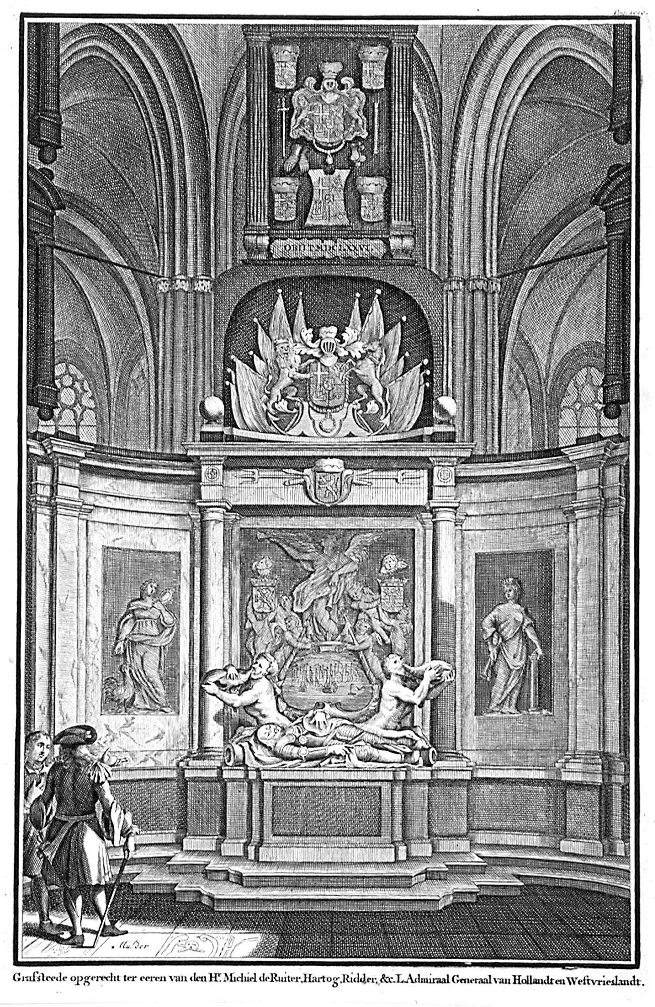 Tekening van de graftombe van Michiel de Ruyter in de Nieuwe Kerk in Amsterdam. (Zeeuws Archief, collectie Zeeuws Genootschap, Zelandia Illustrata)