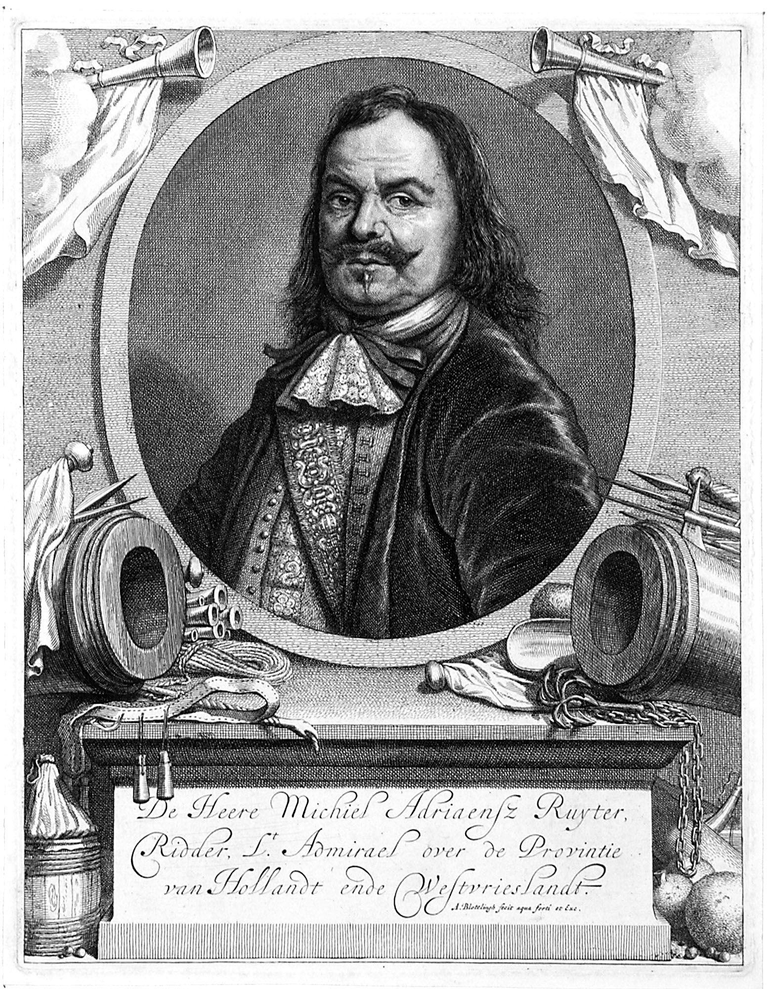 Kopergravure van De Ruyter als luitenant-admiraal. (Zeeuws Archief, collectie Zeeuws Genootschap, Zelandia Illustrata)