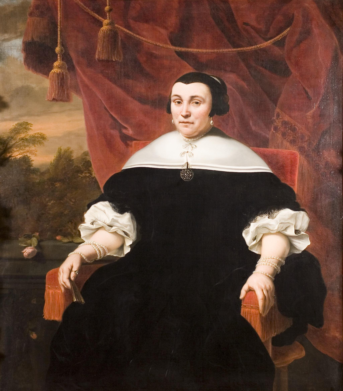Portret van Anna van Gelder, De Ruyters derde echtgenote. Schilderij van Hendrik Berckman, 1668. (Zeeuws Maritiem MuZEEum Vlissingen, collectie Provincie Zeeland, Ruyterania stichting)